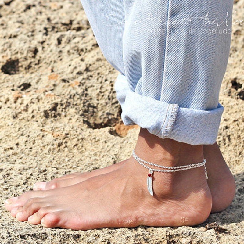 2017 Charming Summer Style Silver Color Thin Chain with leaf Tassel Women Blue Stone Beads Bohemian Anklets Bracelets Jewelry