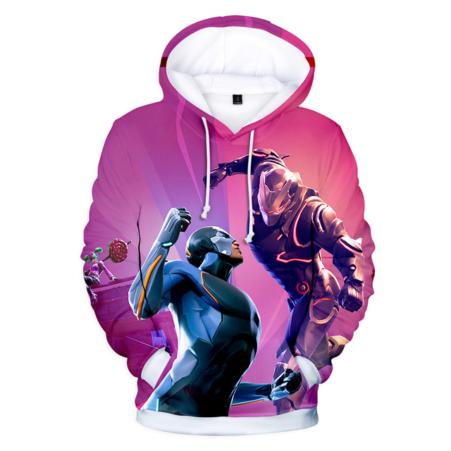 Fortnited Battle Royale Pink Streetwear Drawstring Hoodie Men Hip Hop Sweatshirts 3d Anime Print Pullover Punk Hipster x5460  2