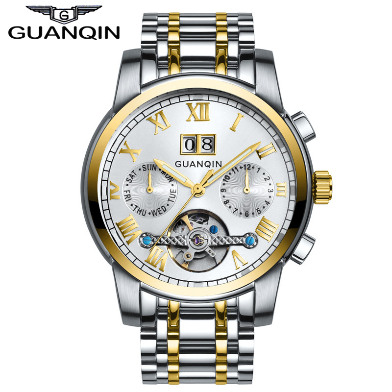 GUANQIN GJ16031 Top Brand Luxury Automatic Mechanical Tourbillon Watch Men Luminous Stainless Steel Wristwatch Montre Homme mens watches top brand luxury automatic mechanical tourbillon watch men luminous stainless steel wristwatch montre homme