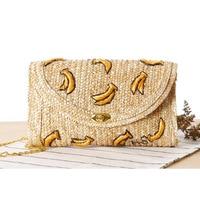 ADIYATE Weave Embroidery Fruit Cherry Bananas Daisy Mini Chain Women Messenger Bags Fruit Straw Beach Bag