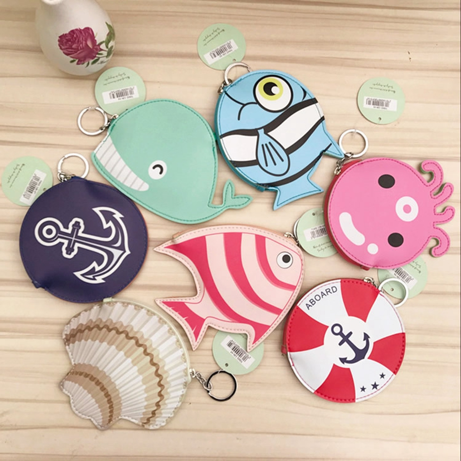 2017 Creative Cute Ocean Animal Coin Purse Key Chain Women Girl PU Leather Shell Whale Squid Zipper Change Wallet Card Holder 2017creative cute cartoon coin purse key chain for girls pu leather icecream cake popcorn kids zipper change wallet card holder