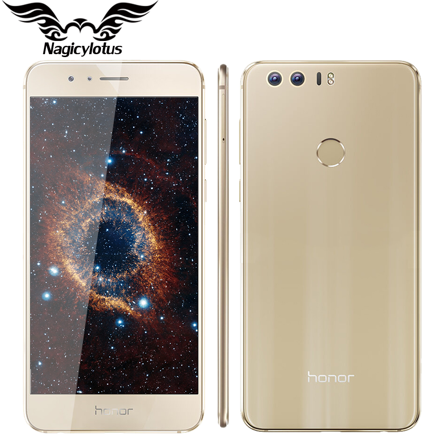 Цена за Оригинал huawei honor 8 4 г lte мобильный телефон окта ядро 3 г RAM 32 ГБ Android 6.0 5.2 дюймов FHD 1920*1080 Двойная Камера Отпечатков Пальцев NFC