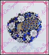 Aidocrystal herzförmige kupplung königsblau kristall dimond hochzeit taschen verziert mit pfau