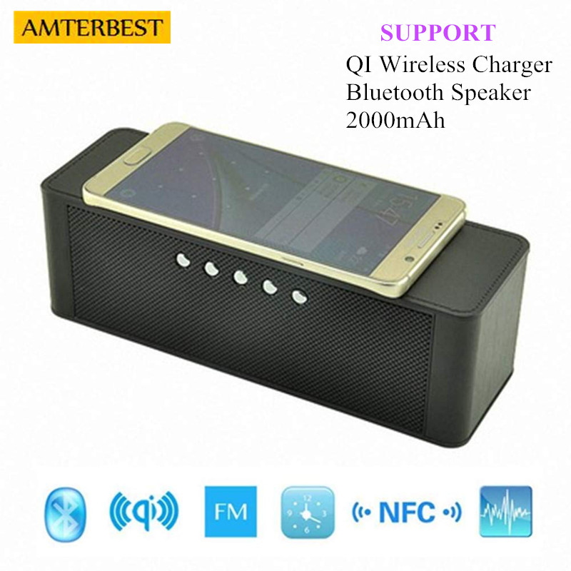 AMTERBEST Portable Qi Wireless Charger Bluetooth Speaker with NFC, FM Radio, TF Card Slot, Hands Free Stereo Speaker for QI bluetooth stereo speaker fast charge wireless charger qi standard for qi enabled mobile device