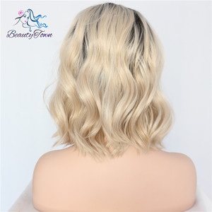 Image 4 - BeautyTown Short Ombre Blonde Heat Resistant Hand Tied Blogger Daily Makeup Synthetic Lace Front Wedding Halloween Party Wig