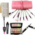 5 шт. eyeshadow + накладные ресницы + + макияж кисти + подводка для глаз сексуальные женщины комплект состава