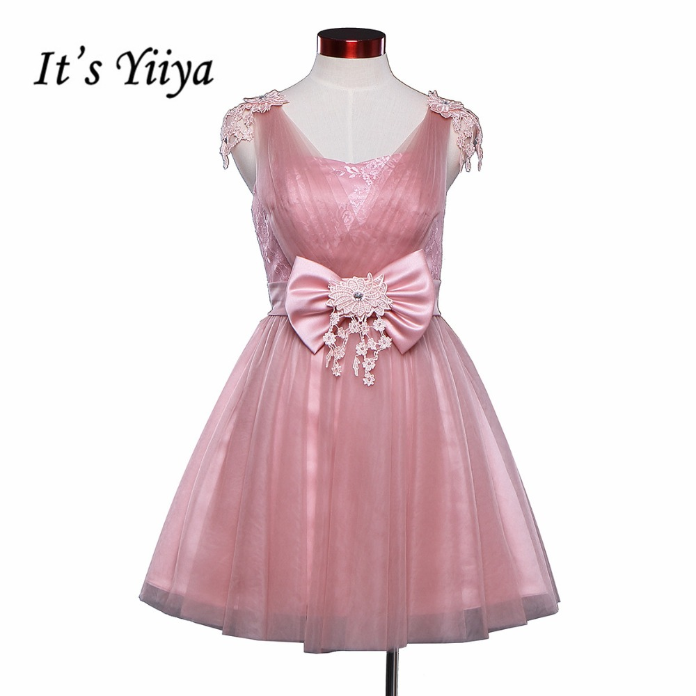 Free Shipping 2017 New Real Photo Pink Lace Tulle Short Bridesmaid Dresses Knee Length Party