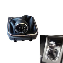 цена на For VW Golf V 5 Golf VI 6 GOLF V VI JETTA Car Styling 5 Speed 6 Gear Shift Knobs With Gaitor Covered Leather Knob