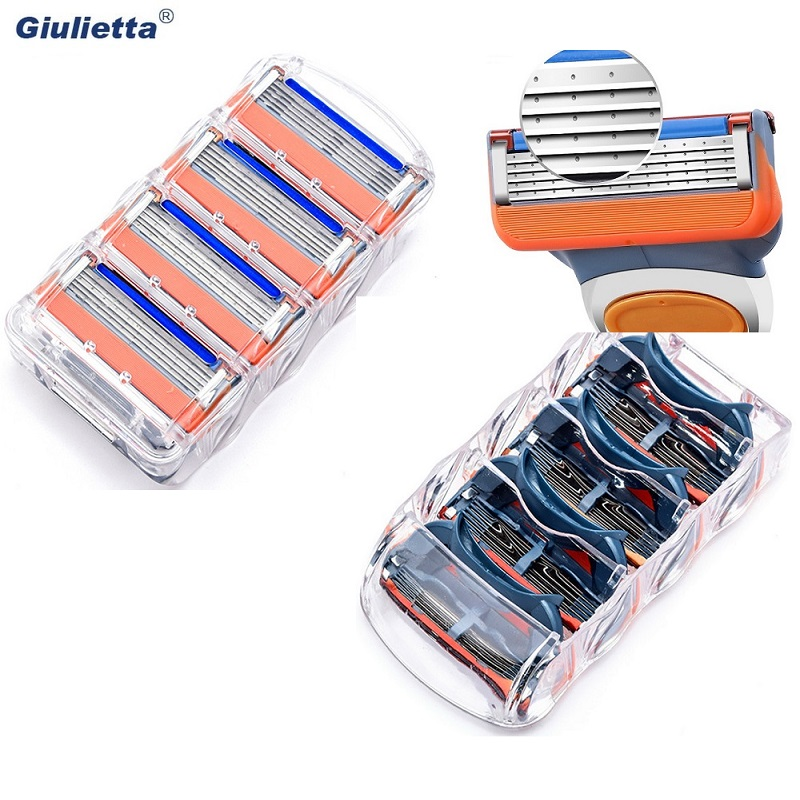 12 pcs / pack. Men Razor blades facial care shaving cassettes men shaving blades Compatible with gillettee fusione proglide