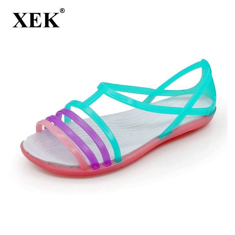 Women Sandals Summer New Candy Color Women Shoes Peep Toe Stappy Beach Valentine Rainbow Croc Jelly Shoes Woman Flats ST235 summer 2017 new color crystal bling sandals woman anti skid hole jelly shoes flat garden beach rain shoes
