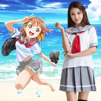 Love Live Sunshine Cosplay Costume Japanese Anime Takami Chika Girls Sailor Uniforms Love Live Aqours School