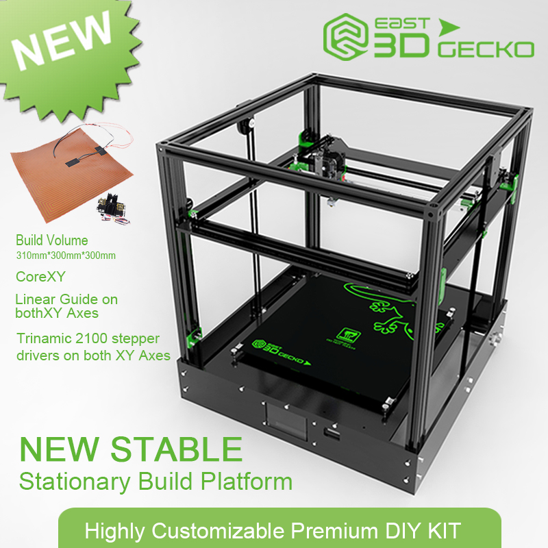 2017 Micromake Newest 3D Printer East 3D Gecko Core XY Structure diy with hot bed micromake 3d printer pulley version diy kit metal 3d printer kossel delta with 8g sd card and test materials