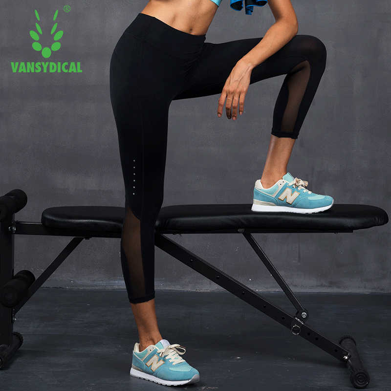 22170701a6 Vansydical Gym Yoga Pants Women's Mesh Running Tights Elastic Quick Dry  Fitness Sports 3/4