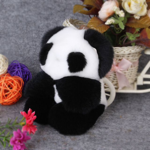 Enfeites de Cabelo do Coelho Rex pele Panda Saco Pendurado Queda Presente Automóvel Chave titular cadeia chaveiro Fivela de mulheres