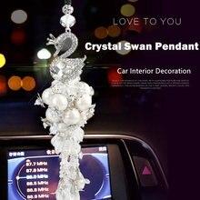 Carro-Styling Melhor Acessório Do Carro Interior Enfeites Artificial Coroa de Diamantes de Cristal Cisne Pingente de Espelho Retrovisor Do Carro Decoração