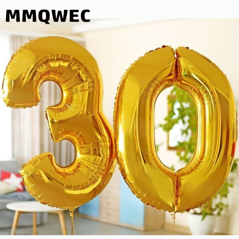 2PCS 32 40inch Rose gold number foil balloons 20 <font><b>30</b></font> 50th <font><b>birthday</b></font> digital helium balloon <font><b>birthday</b></font> party <font><b>decorations</b></font> adult image