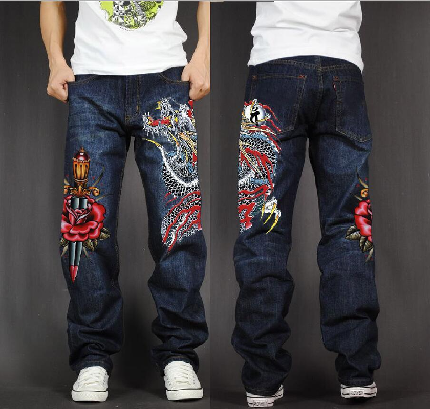 Men's Long Pants Baggy Loose Fit Jeans Rap Hip Hop Skate Denim Print Trousers Straight Stretch Casual Trousers Red Dragon Flower