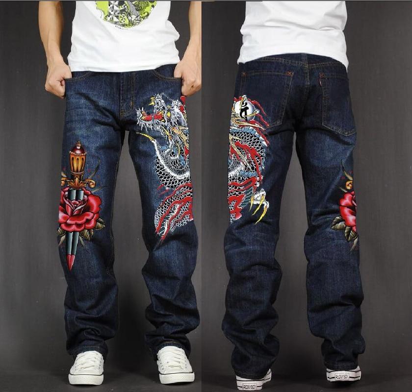 Men's Long Pants Baggy Loose Fit Jeans Rap Hip Hop Skate Denim Print Trousers Straight Stretch Casual Trousers Red Dragon Flower