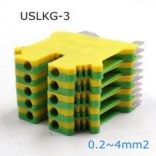 10 шт. USLKG-3 din-рейку Винтовые клеммные блоки Феникс Тип заземления Универсальный соединитель USLKG-3N