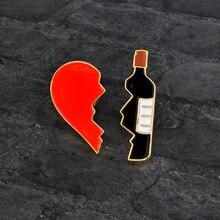 цены 2pcs/set Broken Heart Wine Bottle Brooch Metal Enamel Red Black Brooches Pins Denim Clothes Bag Pin Badge Jewelry for Girls Boys