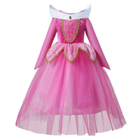Girls Sleeping Beauty Princess Cosplay Party Dresses Children Aurora Costume Long Sleeve Clothing Dress For Christmas