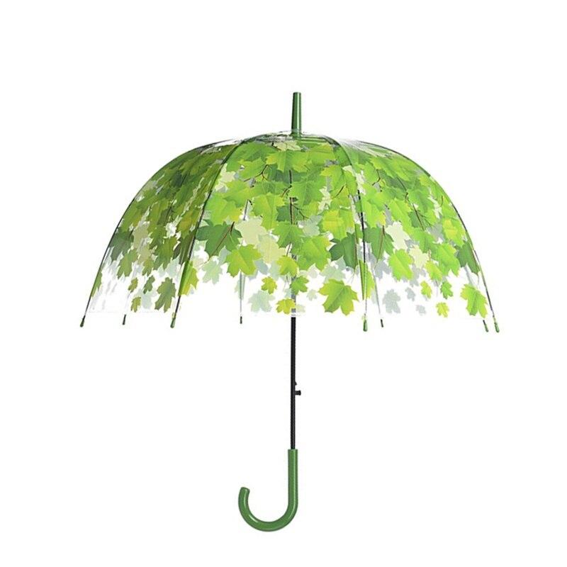 Transparent Mushroom Shape Unbrellas Bubble Umbrellas Maple Leaf Green Leaves Pattern Rainproof Windproof Long Handle Umbrella