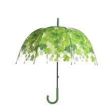 Прозрачный гриб форма Unbrellas Пузырьковые Зонты кленовый лист зеленые листья узор непромокаемый ветрозащитный с длинной ручкой зонтик