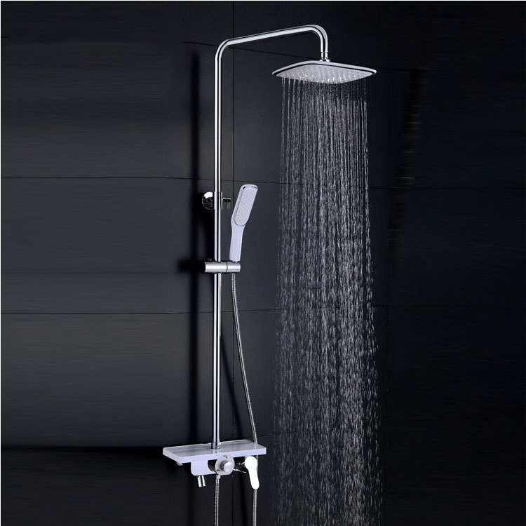 High quality brass Chrome Bathroom Square 8 Rainfall Shower Faucet Set Tub Mixer Tap with Handheld Spray Luxury  shelfHigh quality brass Chrome Bathroom Square 8 Rainfall Shower Faucet Set Tub Mixer Tap with Handheld Spray Luxury  shelf