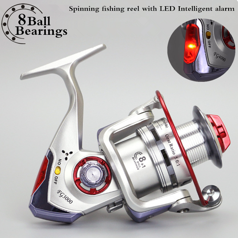 Sea Boat Spinning Bait Casting Fishing Reel 8+1BB with LED Intelligent Alarm Electric Fish Wheel Automatic Alert Carp reel 3000l rear drag spinning carp bait casting trolling boat sea fishing reel