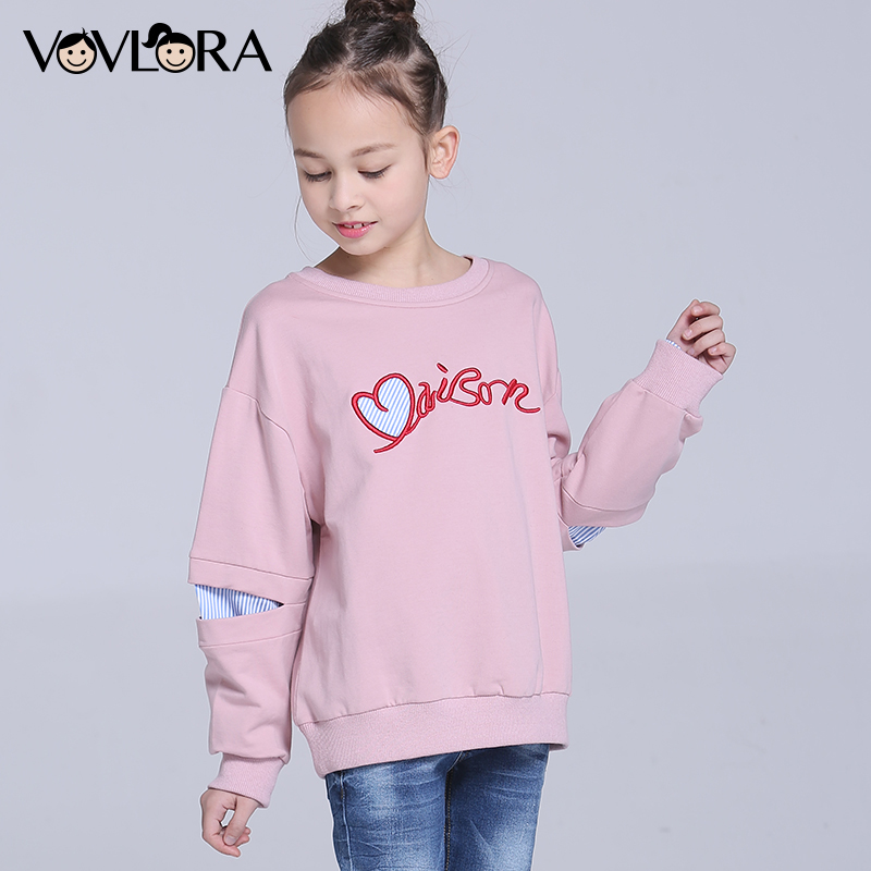 Kids T shirt Tops Long Sleeve Ripped Letter O neck Girls T shirts Embroidery Children Clothes Spring 2018 Size 7 8 9 10 11 12 Y stylish plus size jewel collar half sleeve letter print t shirt for women