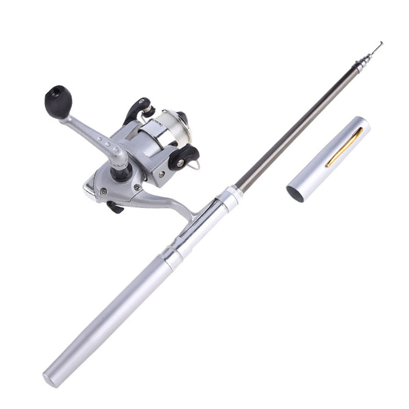 96cm Portable Pocket Telescopic Mini Fishing Pole Pen Shape Folded Fishing Rod With Spining rod 5.1:1 Reel + Line Silver Wheel