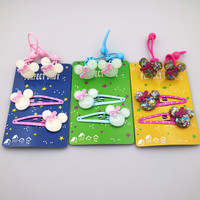 Wholesale 4 PCS Per Lot Carton Candy Color Baby Girls Elastic Hair Band Snap Band Hairpins