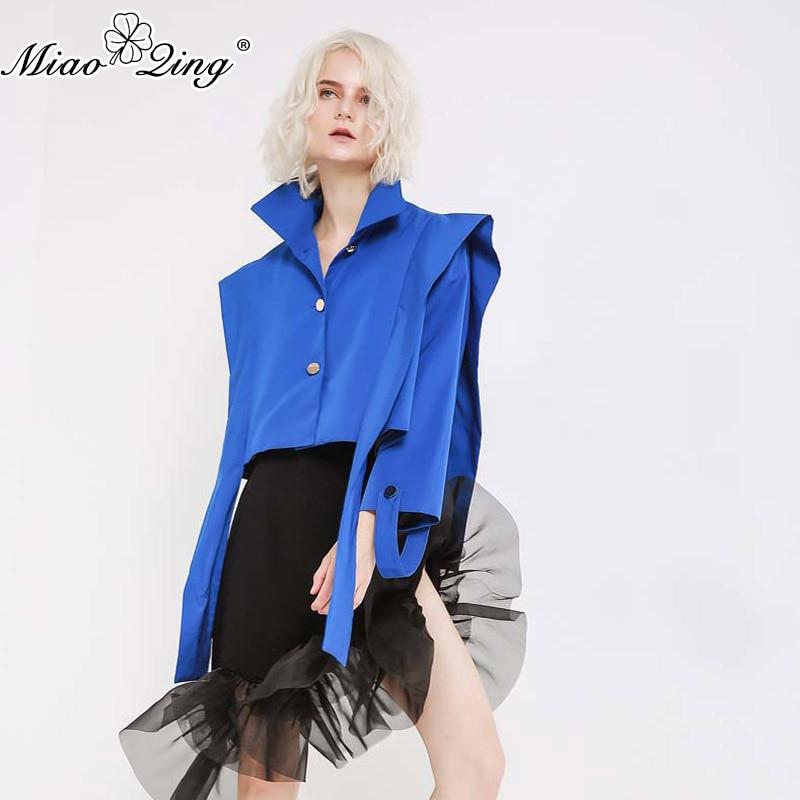 Manteau Surdimensionné Rubans Miaoqing Modis De 2018 Harajuku Vestes Femelle Streetwear Mode Bleu Vêtements Courtes Femmes Befree Automne Z6vOwZqrB