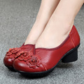 Suave Estilo Zapatos de Cuero Genuino de Tacón Bajo de La Vendimia de La Personalidad Casual Mujer Sandalias Túnel Sandalias Hechas A Mano de La Vendimia Para la primavera