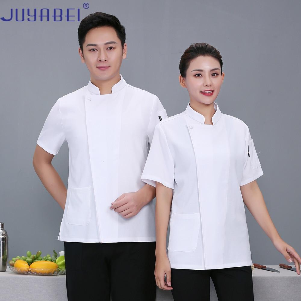 Summer Unisex Solid Color Linen Button Short Sleeve Chef Uniform Hotel Western Restaurant Food Service Kitchen Work Jacket Shirt