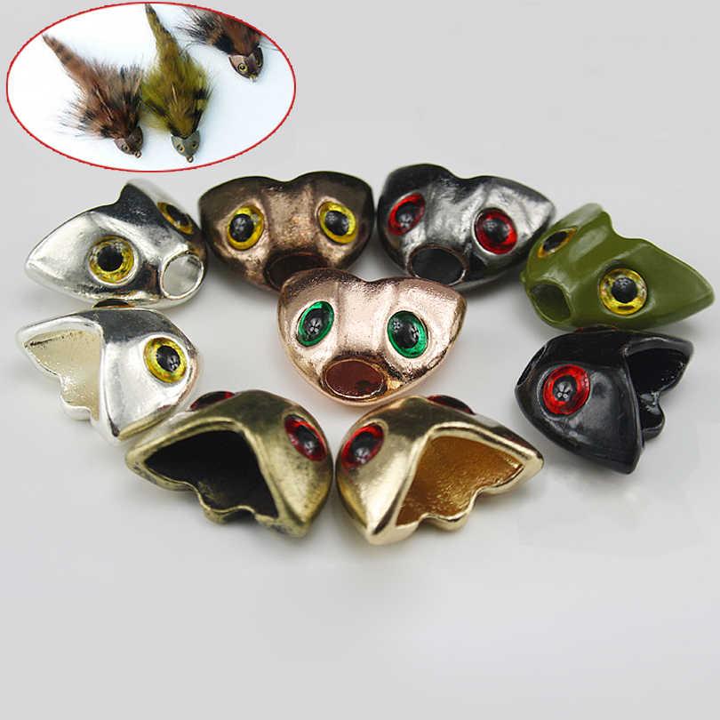 10pcs Fish Skull Sculpin Helmet Green Streamer Heads for Fly Tying
