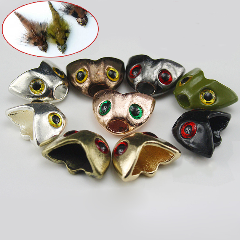 MNFT 10PCS Fly Tying Fish Skull Sculpin Helmet Fly Fishing Streamer Making Skull Head Fly Tying Material New Large & Small Sizes mnft 10 colors select 0 3mm 30m copper wire fly fishing lure bait making material midge larve nymph fly tying material