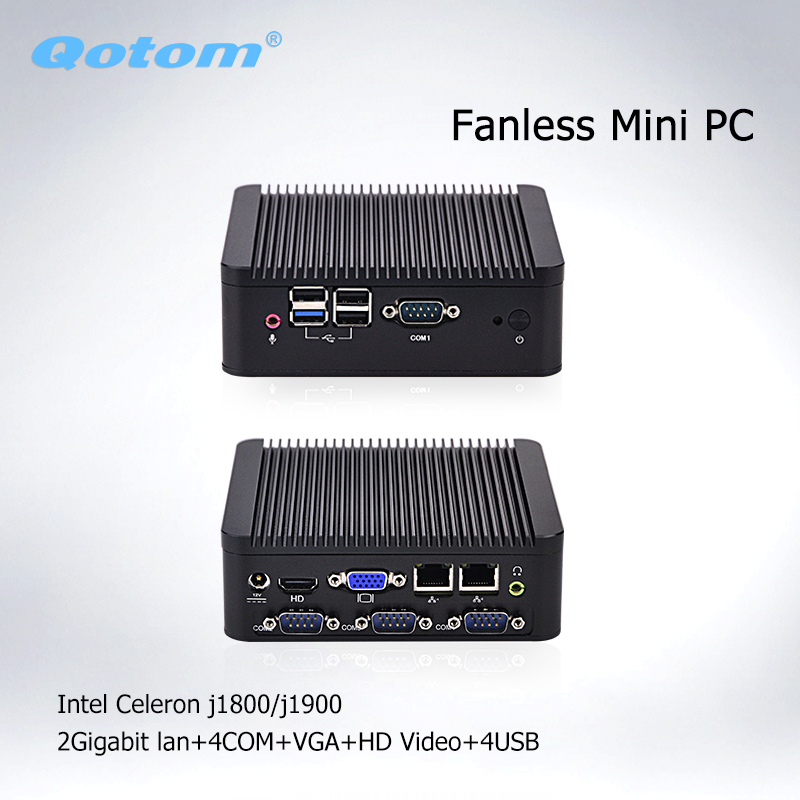 Qotom Fanless Mini PC Nano Itx Celeron J1800 J1900 Multimedia 2 Ethernet Lan Fanless Desktop Industrial Mini Computer