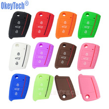 OkeyTech Silicone Key Bag 3 Buttons for VW VOLKSWAGEN Golf 7 GTI Flip Remote Key Protector Cover Case Car-Styling Accessories