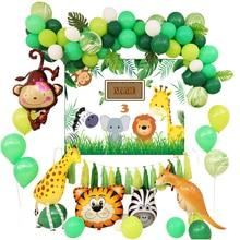 Party Decoration Kids Animal Balloon Set Safari Wildlife Monkey Giraffe Kangaroo Green Forest Latex Ballon Garland