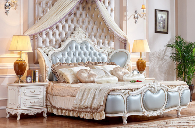 ריהוט לחדר שינה יוקרה מיטת קינג סייז רהיטים בסגנון צרפתי