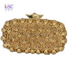 LaiSC Gold Schädel Kristall Abendtasche Handtasche Partei Frauen Abendessen Handtasche Diamant Prom Geldbörse Damen Handtasche sc456