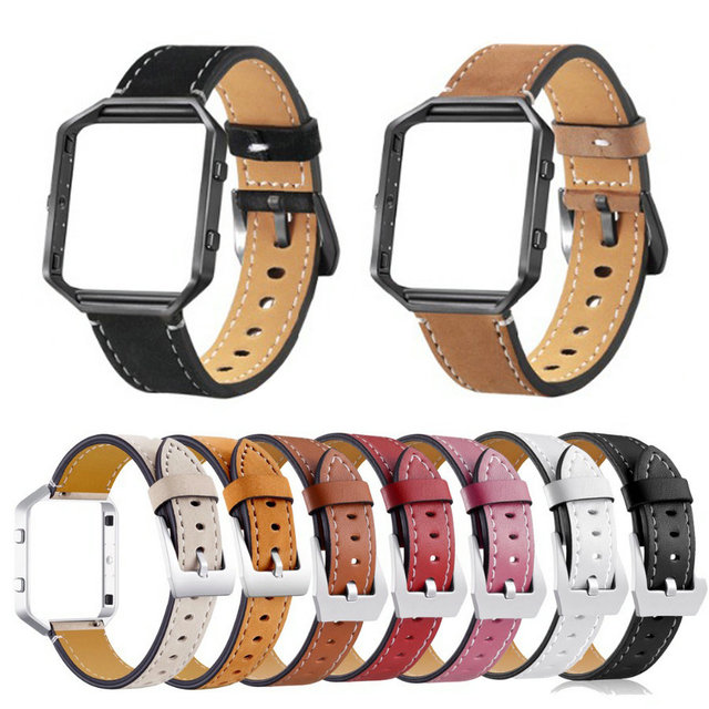 Genuine Leather Watch Band For Fitbit Blaze Replacement Band +Metal Frame House