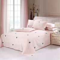 100% Cotton cute Dandelion bedding set pink black flat sheet bedclothes include pillowcase twin queen king size comfortable girl