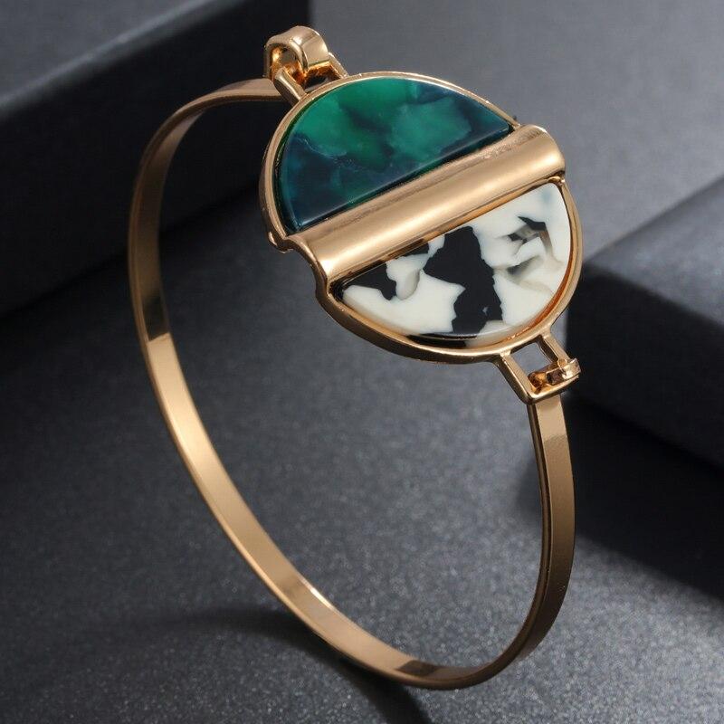 2019 Heißer Neue Mode Essigsäure Acryl Geometrische Manschette Armband Frauen Schmuck Geschenk Mujer Pulseras Gold Armbänder & Armreifen Frauen