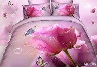 Top Fashion 100% Algodão 3d Rose Impresso Capa de Edredão Rainha rei Super King Size 7 pcs Conjuntos de Cama Lençóis Fronha Sabanas