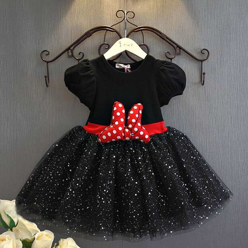 Fancy Cosplay Minnie Mouse Dress for Girls Clothing 2nd Birthday Party Baptism Christening Gown Dot Bow Gold Outfits Dresses 6ys