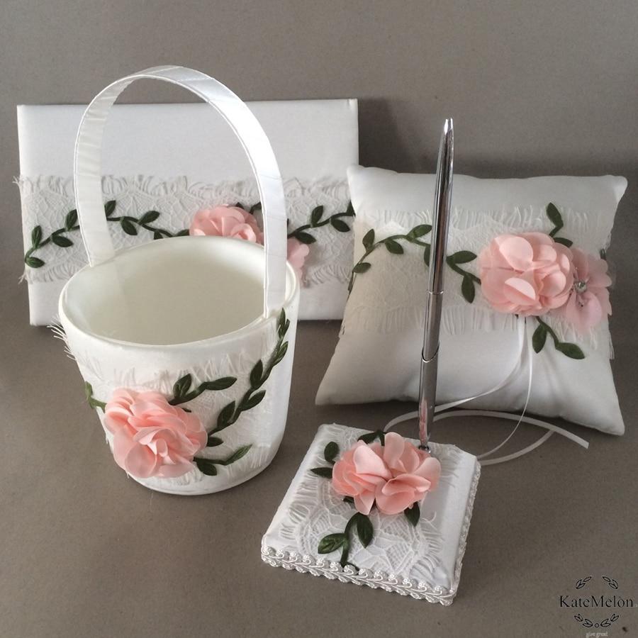 4 pièces/ensemble décoration de mariage anneau oreiller anneau de mariée oreillers panier de fleurs + livre d'invité stylo ensemble de produits de mariage fournitures