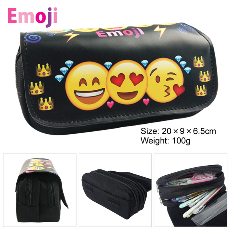 Anime Cute Funny Emoji Smile Sad Angry Face Zipper Pencil ...