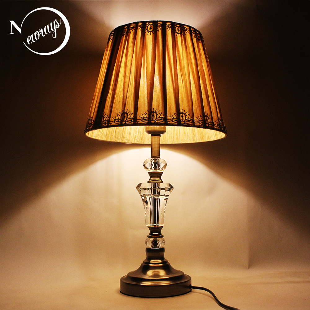 Modern minimalist fabric crystal desk light vintage E27 LED 220V art deco table Lamp for Reading bedside restaurant office hotelModern minimalist fabric crystal desk light vintage E27 LED 220V art deco table Lamp for Reading bedside restaurant office hotel